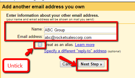 how to configure add an email address in gmail