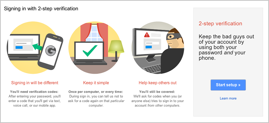 """Enable 2 Step Verification for Gmail using Authy.Click """"Start Setup""""."""