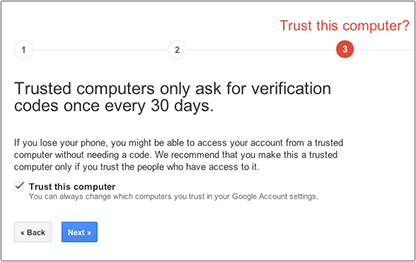 """Enable 2 Step Verification for Gmail using Authy.Click """"Next""""."""