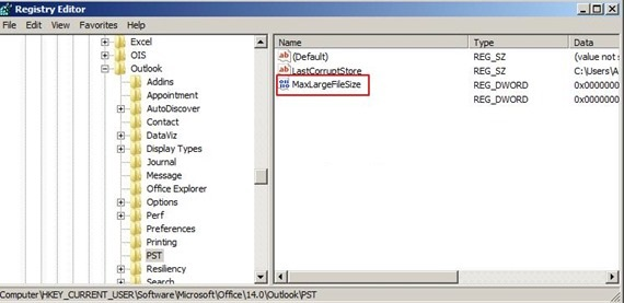 Increase storage capacity of PST for Outlook 2003, 2007